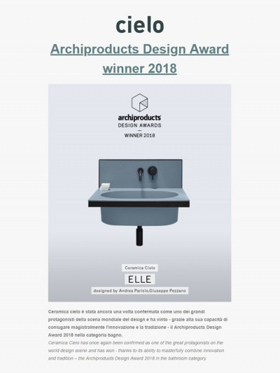 Archiproducts Design Award winner 2018<br />06/12/2018