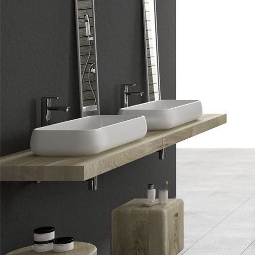 Rectangular on top washbasin 80