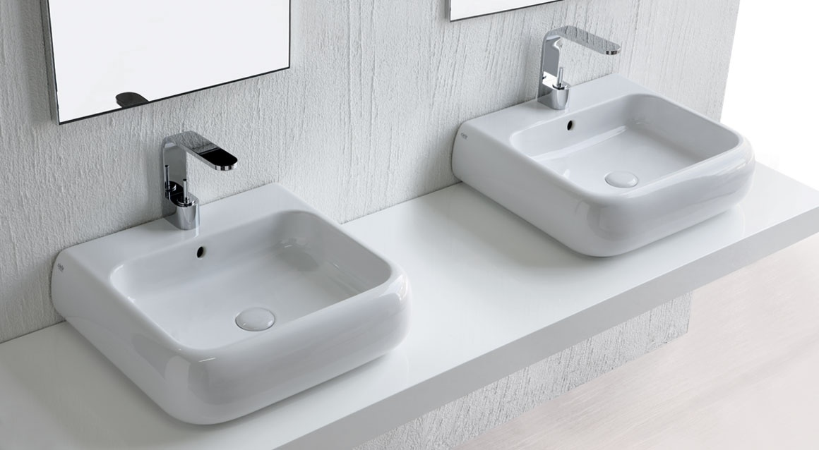 Wall-hung or on top washbasin 54