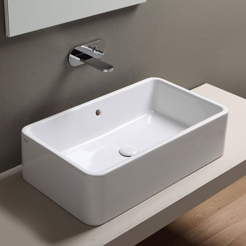 Rectangular on top washbasin 75 with overflow