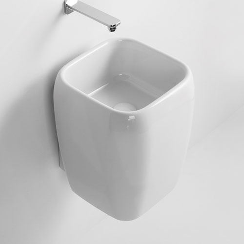 Half pedestal washbasin - wall-hung or on top installation