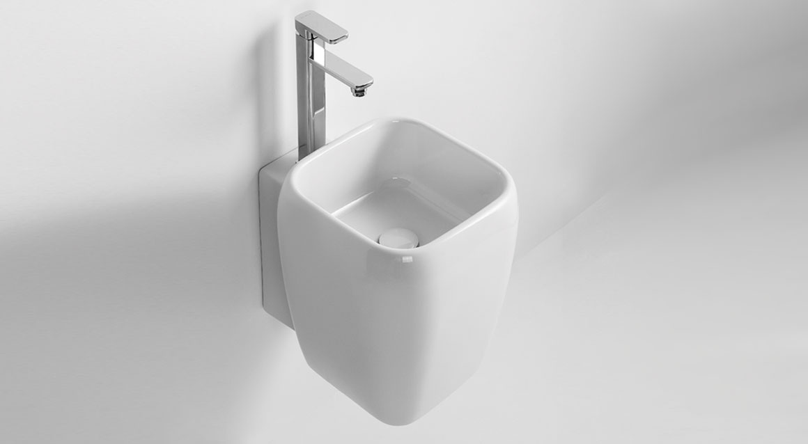 One hole half pedestal washbasin - wall-hung or on top installation
