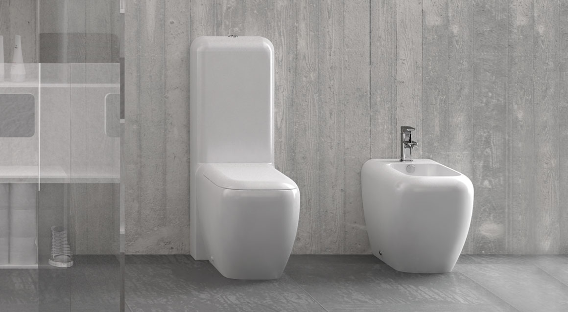 Wc with monoblock cistern