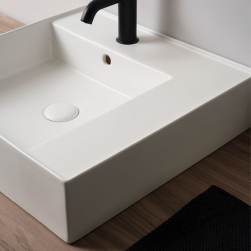 On top or wall-hung rectangular washbasin 50