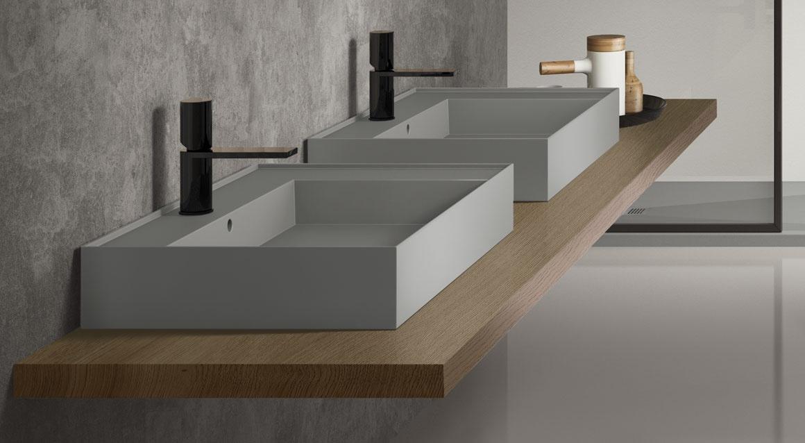 Wall-hung rectangular washbasin 60