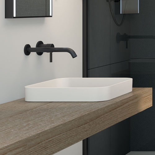 Semi-recessed square washbasin