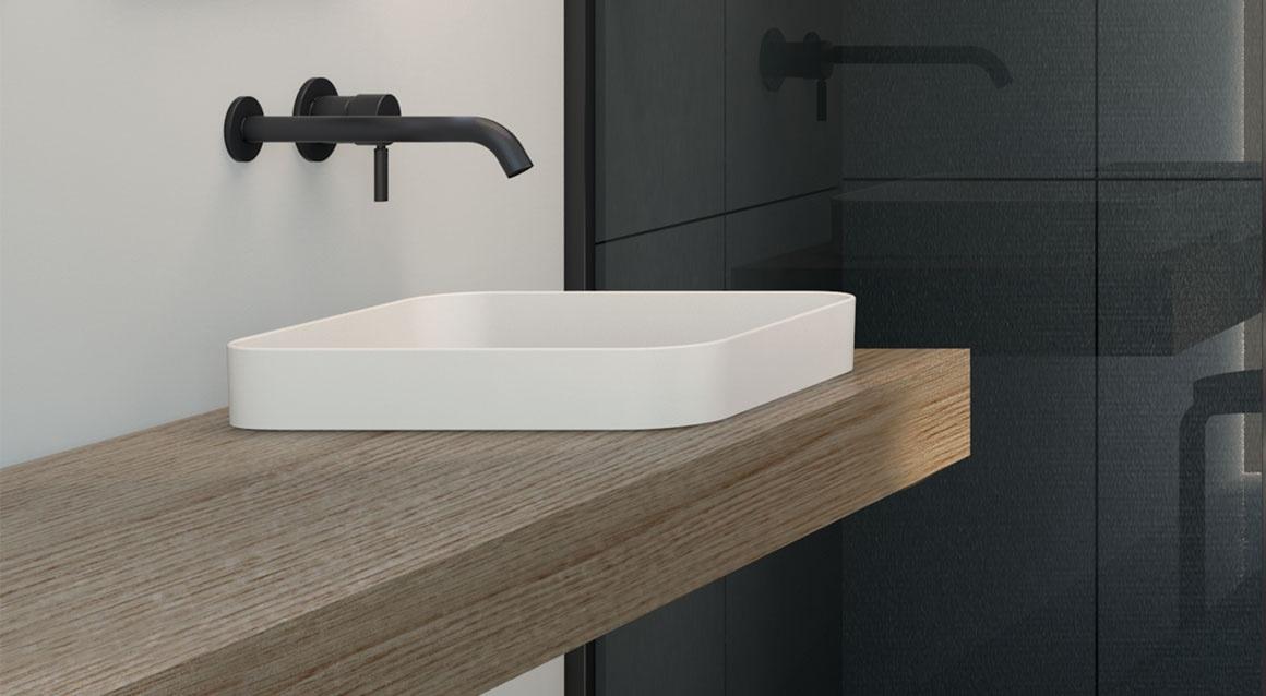 Semi-recessed square washbasin