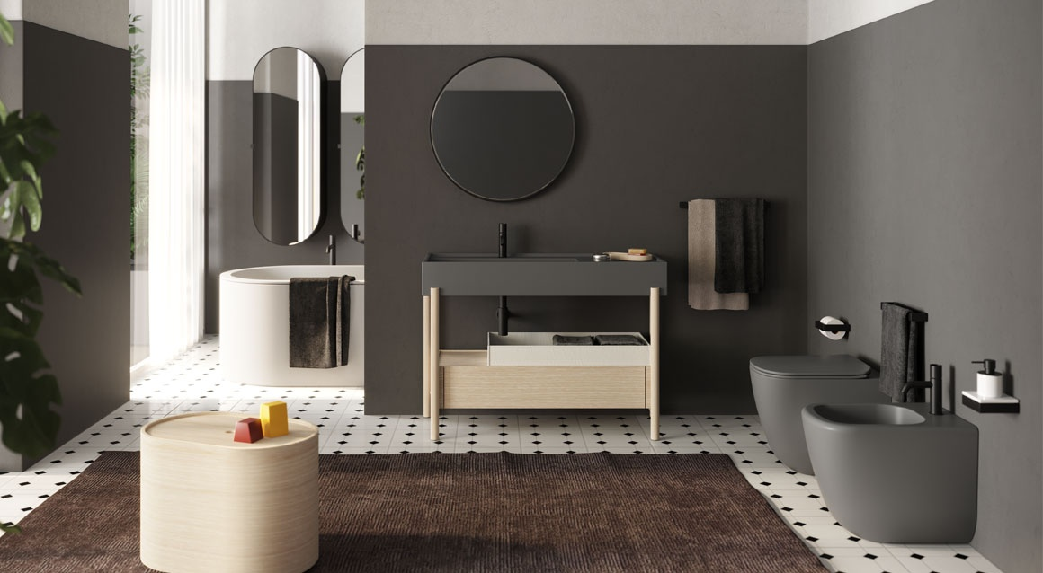 Plinio 115 washbasin with cabinet