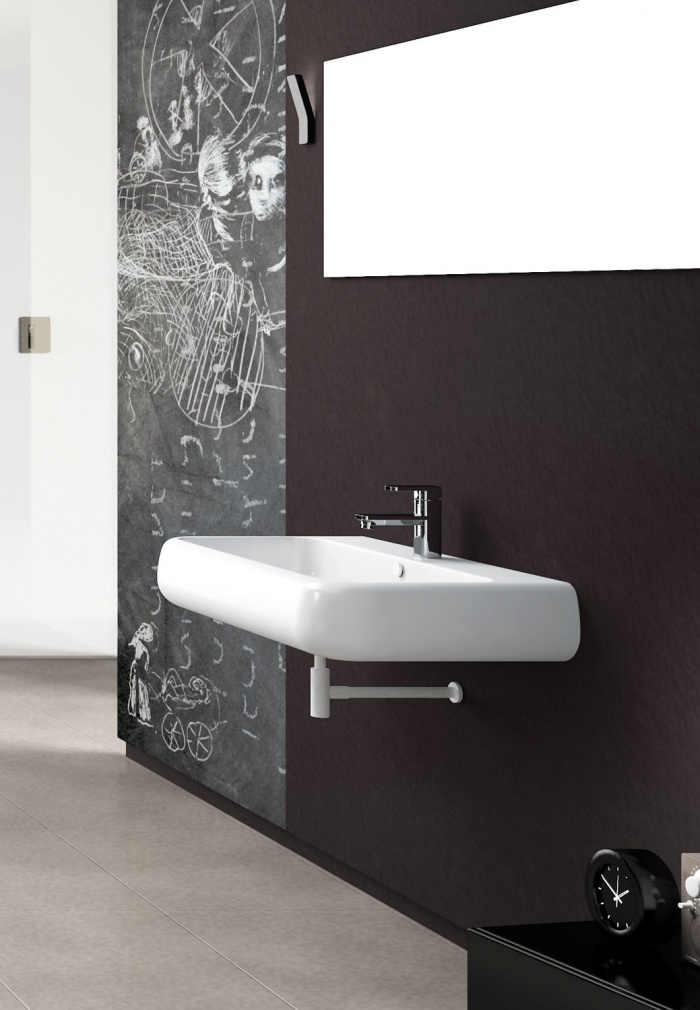 On top or wall-hung washbasin 80 - glossy white