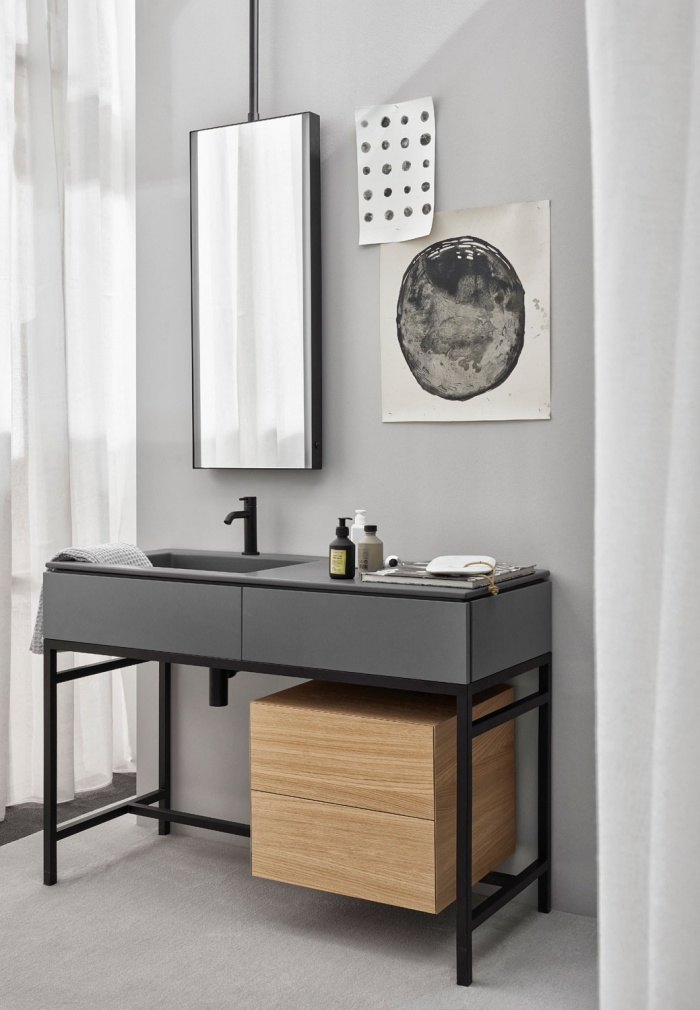 Cemento washbasin and drawer, Matt Black framework, Rovere Naturale drawer unit, Argo mirror