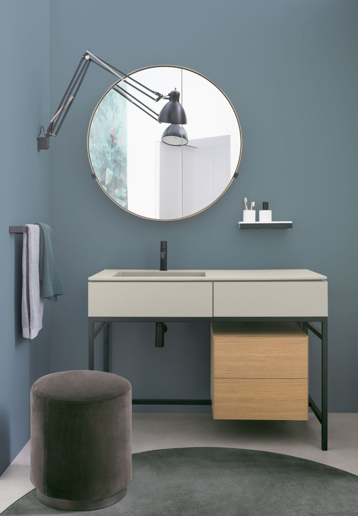 Pomice washbasin and drawer, Matt Black framework, Rovere Naturale drawer unit, Brushed Bronze Round Box mirror, accessories