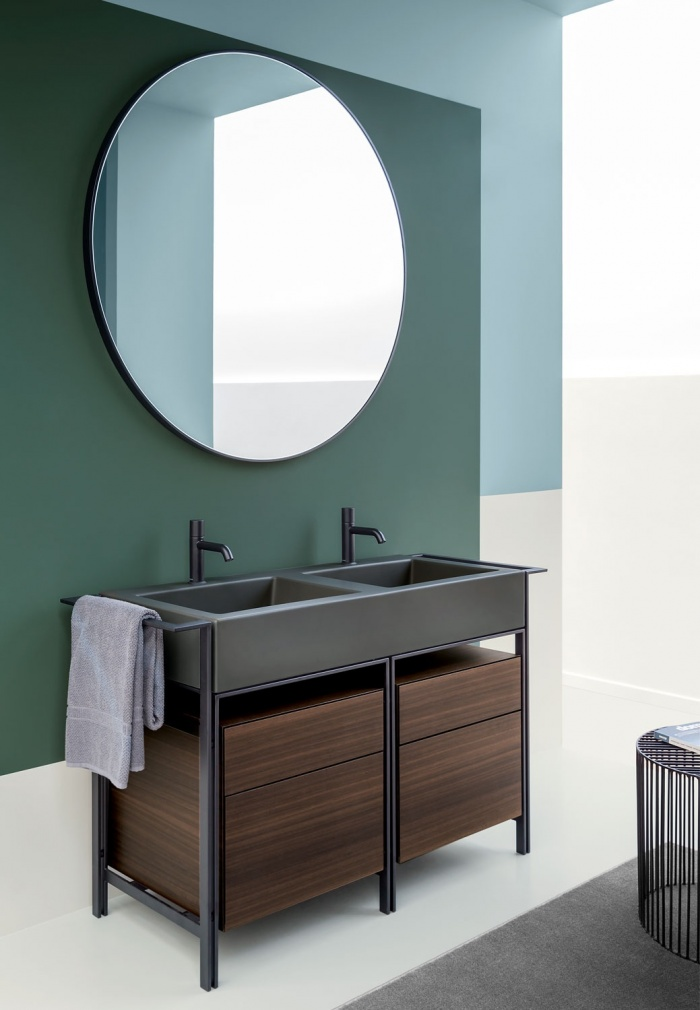 Narciso doppio Cemento washbasin, drawer unit in wooden finish Eucalipto, Matt Black framework. Round mirror