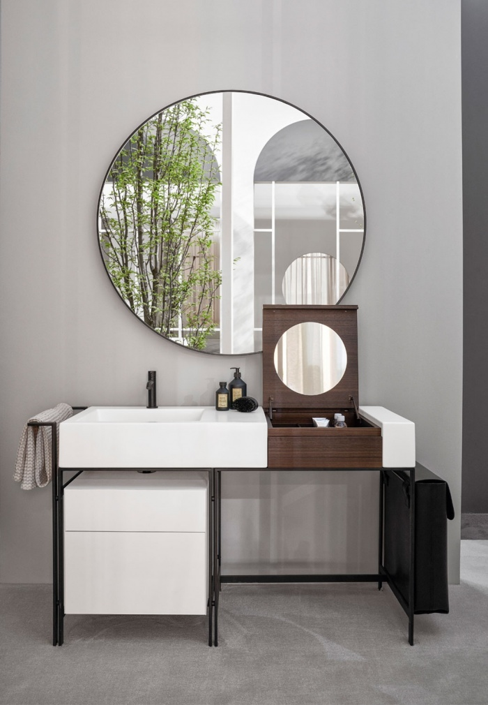 Talco washbasin, Matt Black framework, Eucalipto Make Up element, Talco drawer unit, Black leather laundry bag, Round mirror