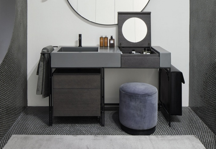 Cemento washbasin, Matt Black framework, Rovere Grigio Make Up element, Rovere Grigio drawer unit, Black leather laundry bag