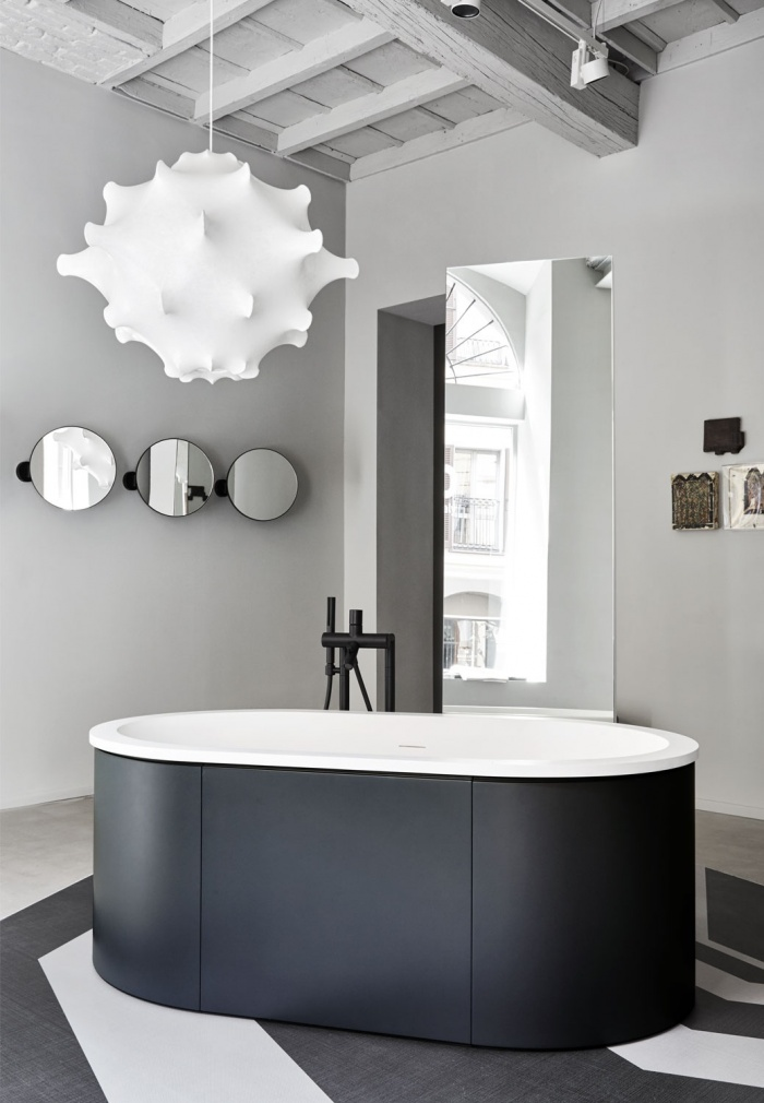 Cibele bath tub in LivingTec Matt White, Basalto playwood cladding