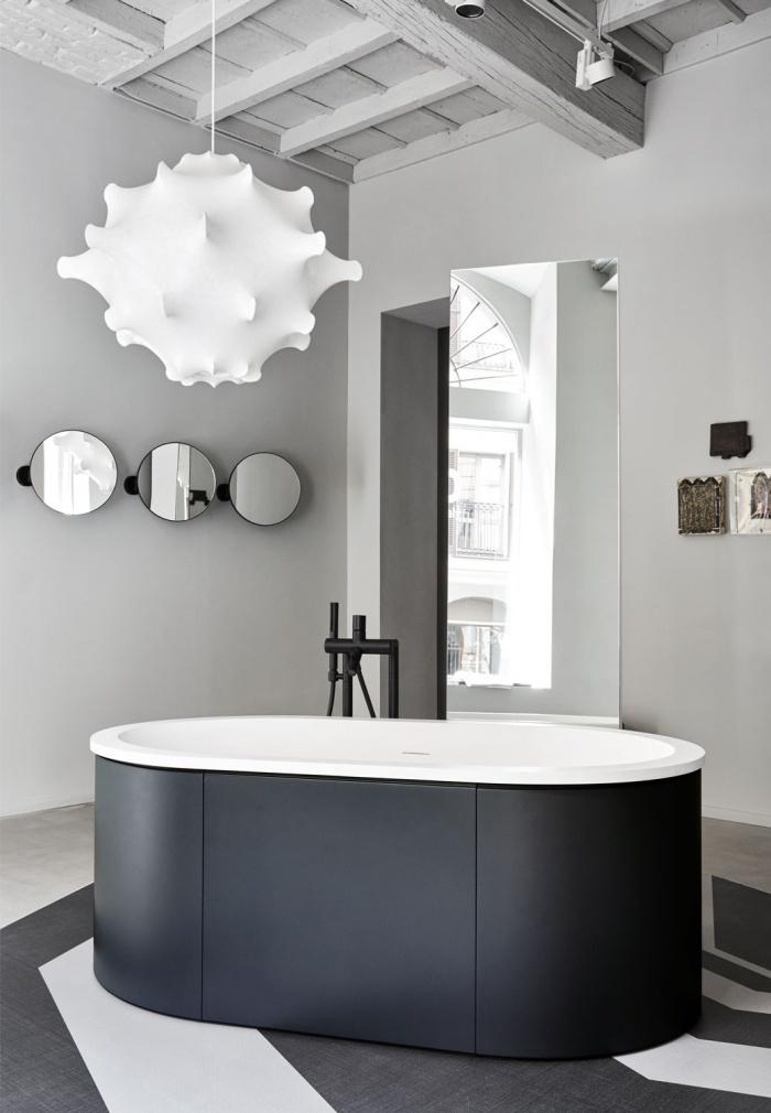 Vasca Cibele in LivingTec Bianco Matt, rivestimento Basalto