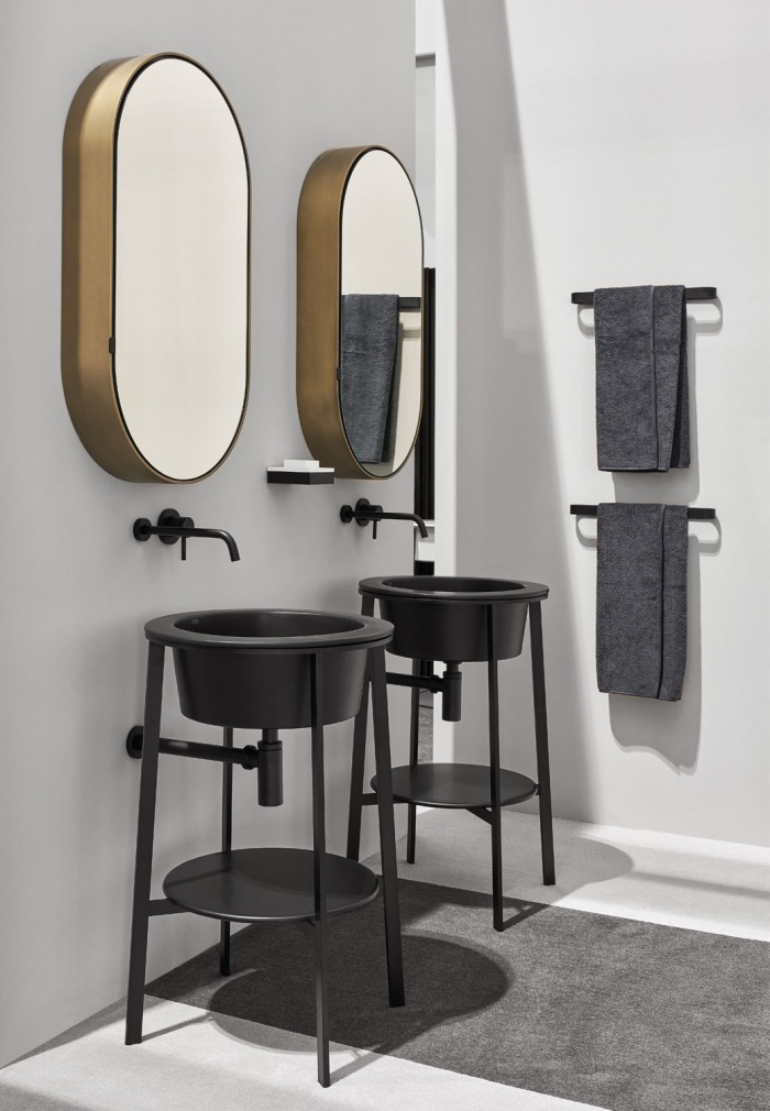 Lavagna washbasins and tops, Black Matt framework, Brushed Bronze Oval Box mirrors, Black Matt towel rails