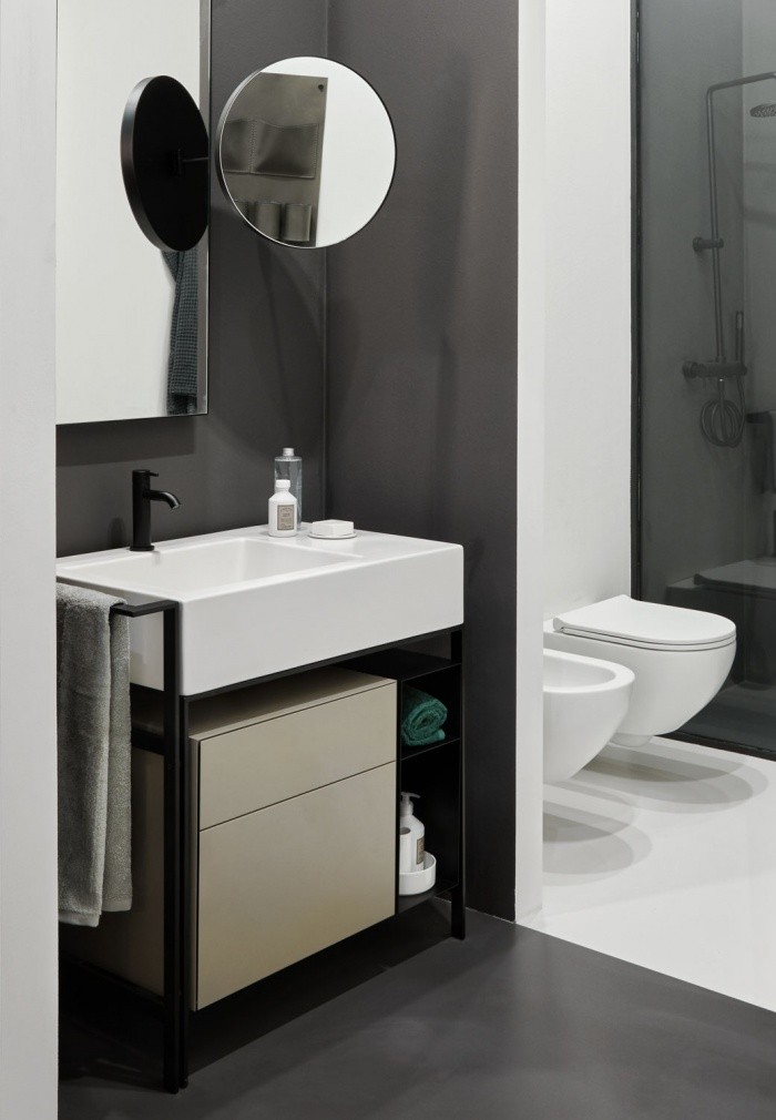 Narciso mini  washbasin Talco, Avena lacquered drawer unit, Matt Black  steel framework and box,  Matt Black Pluto mirror,  Matt Black Argo mirror, Enjoy  wall hung wc and  bidet with slim seatcover.
