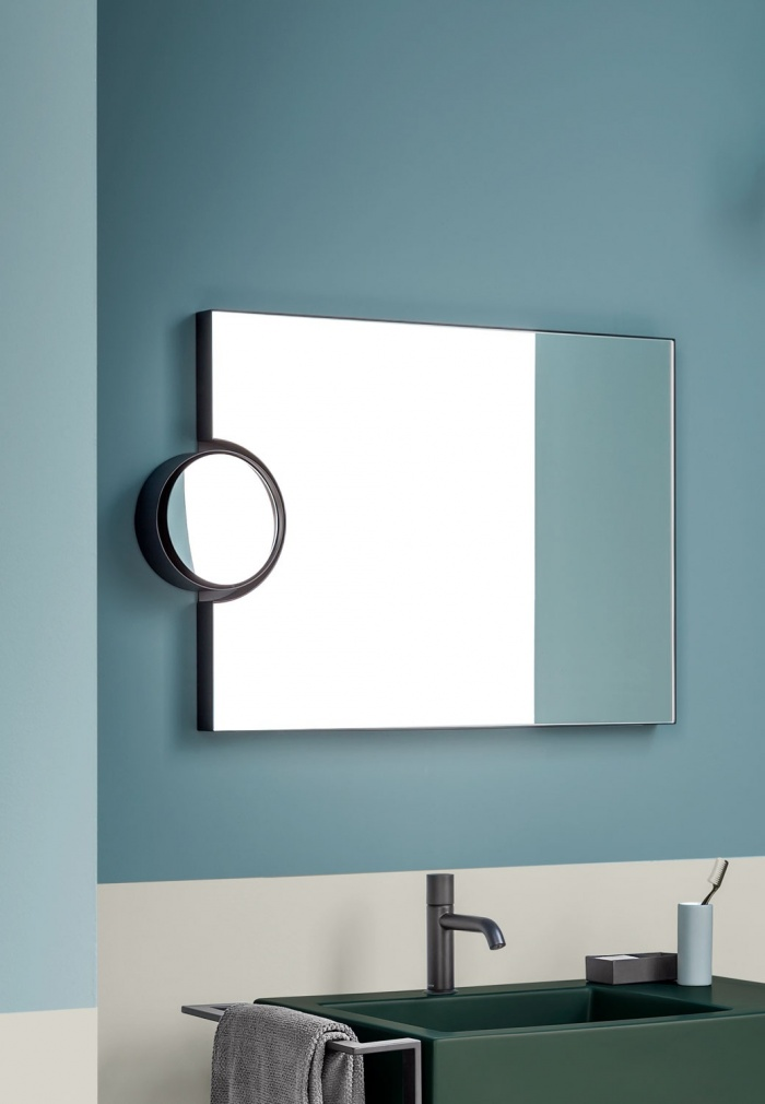 Polifemo mirror. Nero Matt finishes. Narciso Mini basin. Muschio finishes.