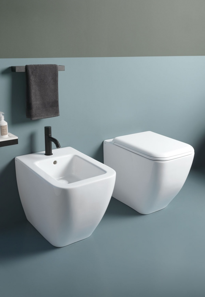 Back-to-wall bidet and wc with adjustable water inlet/outlet  - rimless - Talco
