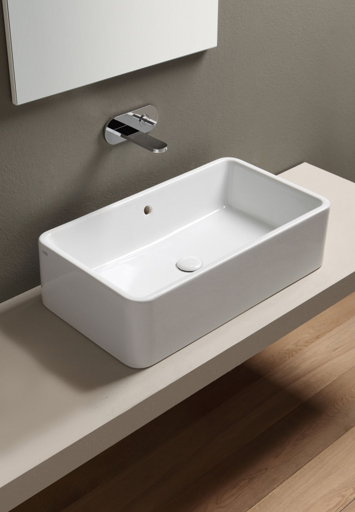 Rectangular washbasin 75 - glossy white