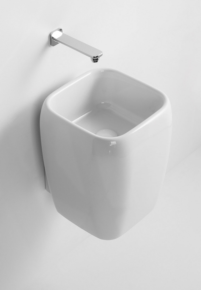 Half pedestal washbasin - wall-hung or on top installation - glossy white