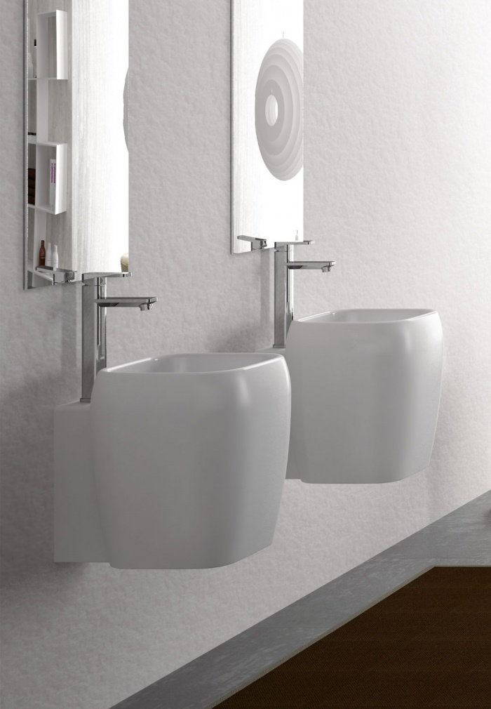 One hole half pedestal washbasin - wall-hung or on top installation - glossy white