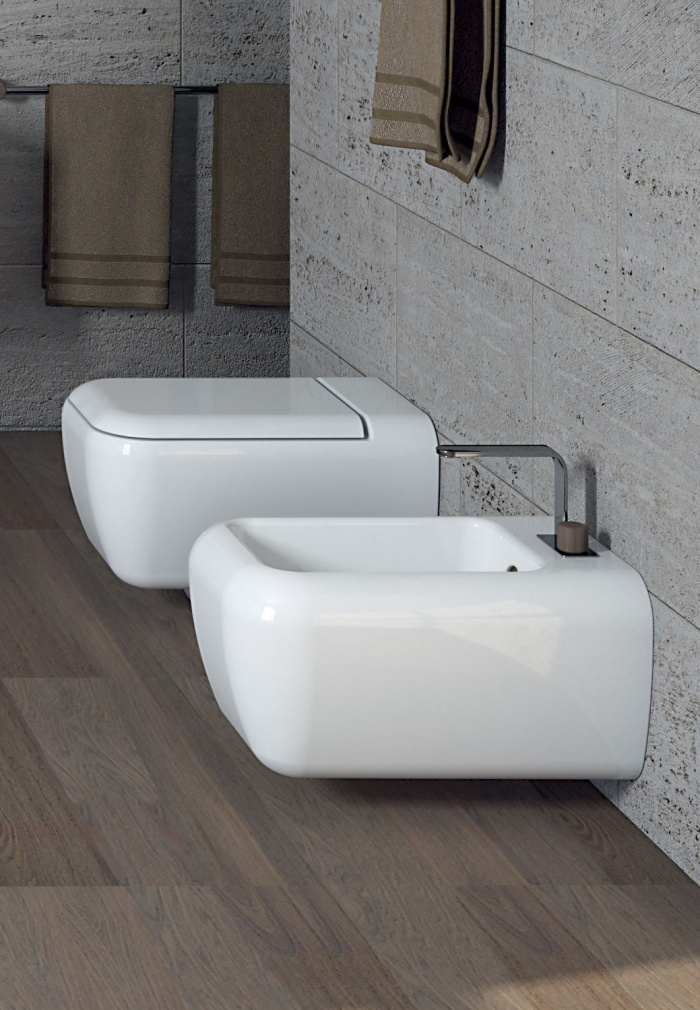 Wall-hung wc and bidet - glossy white