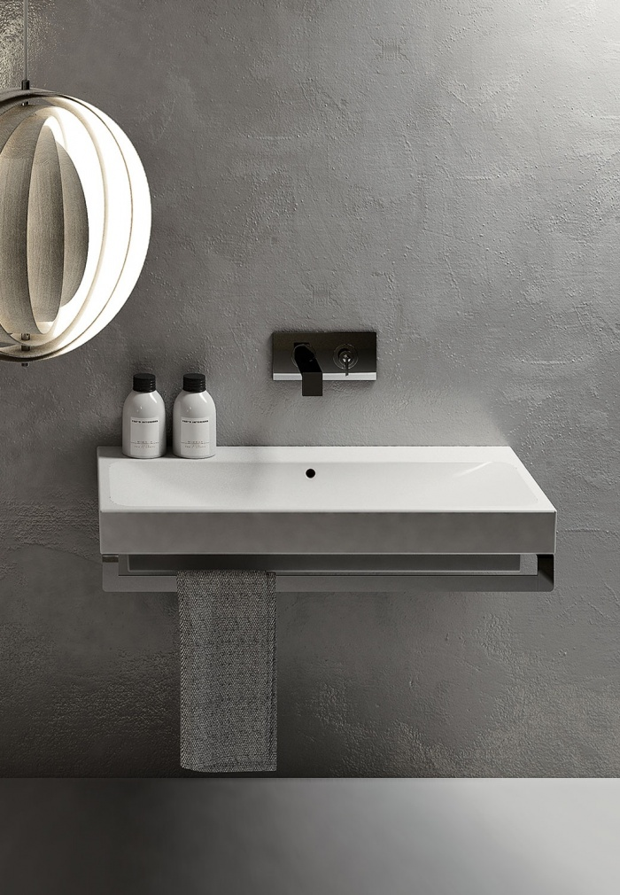 Square 100  Gloss white washbasin.