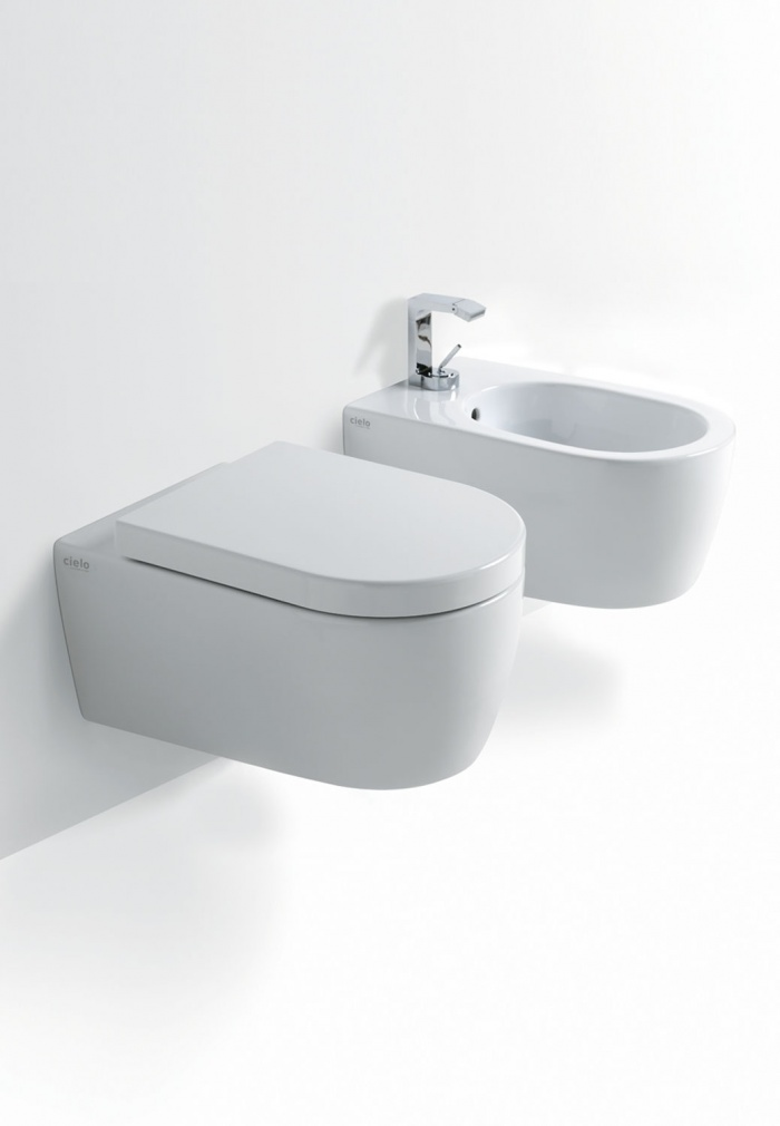 Wall hung Wc and  Bidet Gloss white finishes.