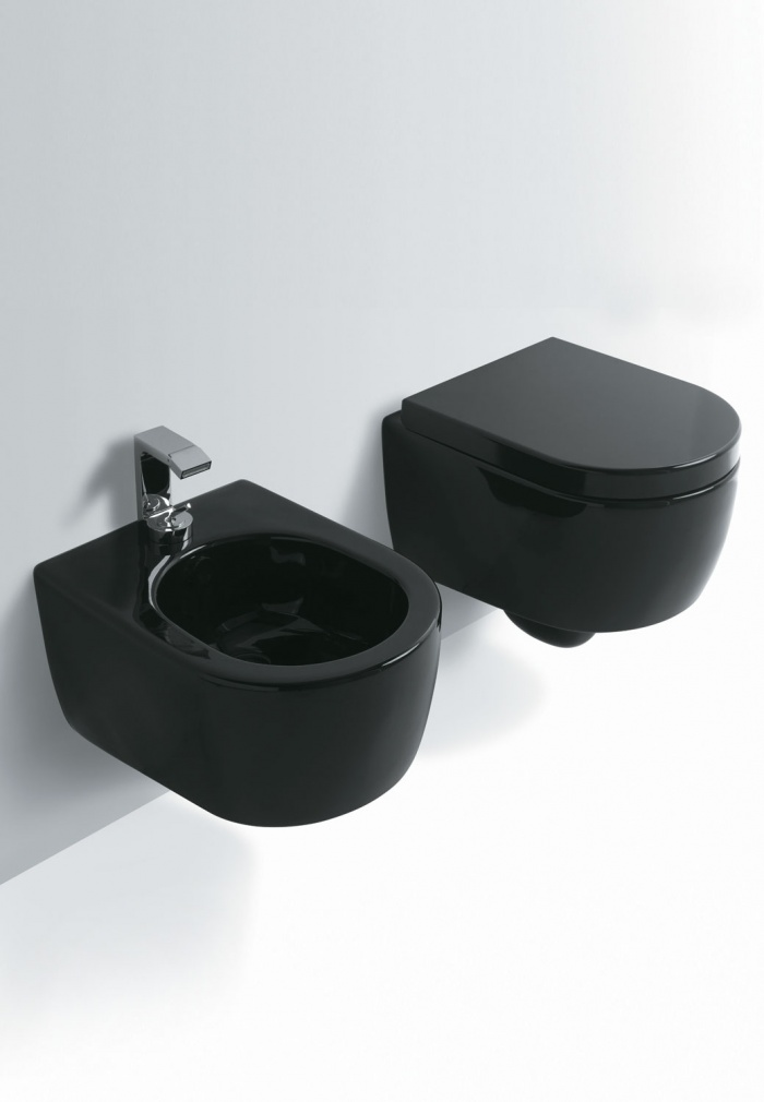 Smile Mini Wall hung Wc and  Bidet Gloss black finishes.