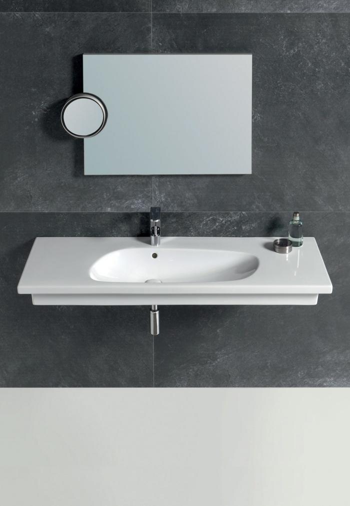 Enjoy 120 washbasin Gloss white. Polifemo mirror Titanio finishes.
