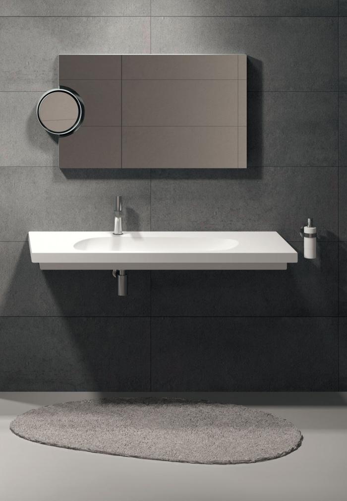 Enjoy 140 washbasin Talco. Polifemo mirror Titanio finishes.