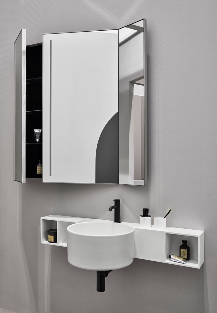 Talco washbasin, Matt white storage unit in LivingTec