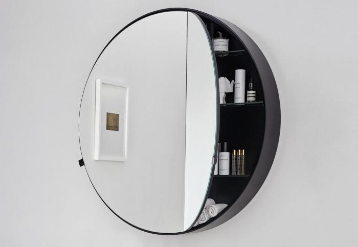 Round Box mirror. Nero Matt finishes.