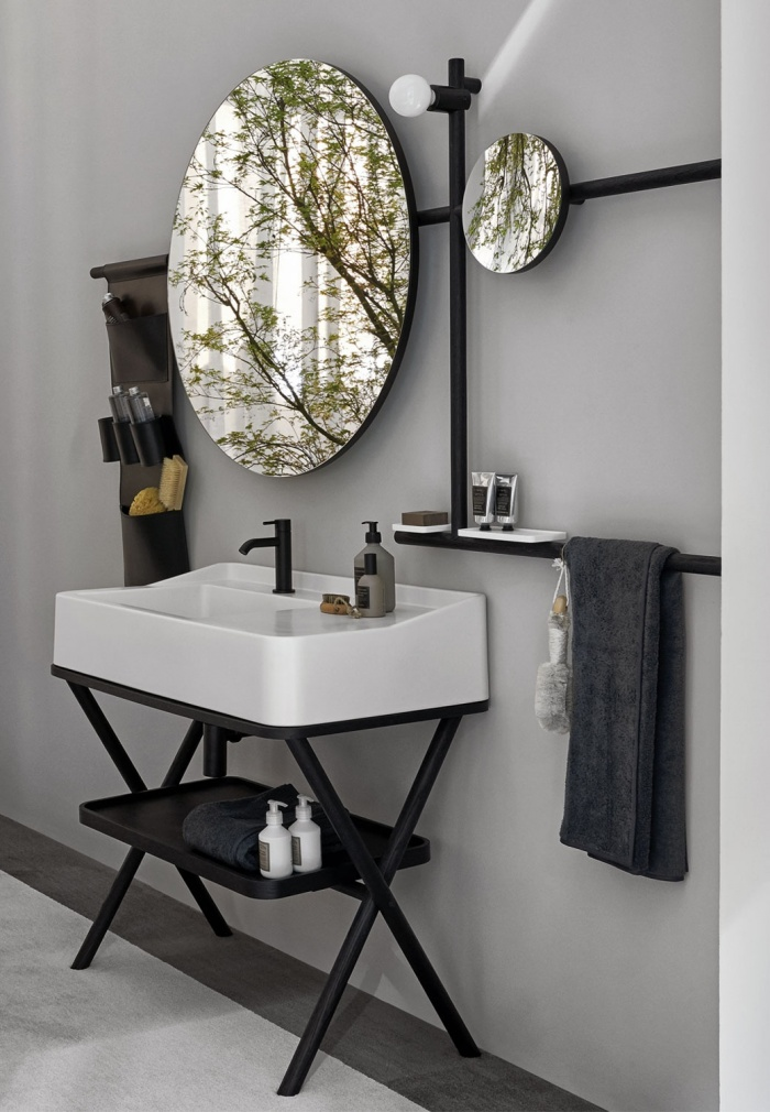 Talco washbasin, Rovere Nero framework of washbasin and mirror, Rovere Nero tray, Black leather storage bag