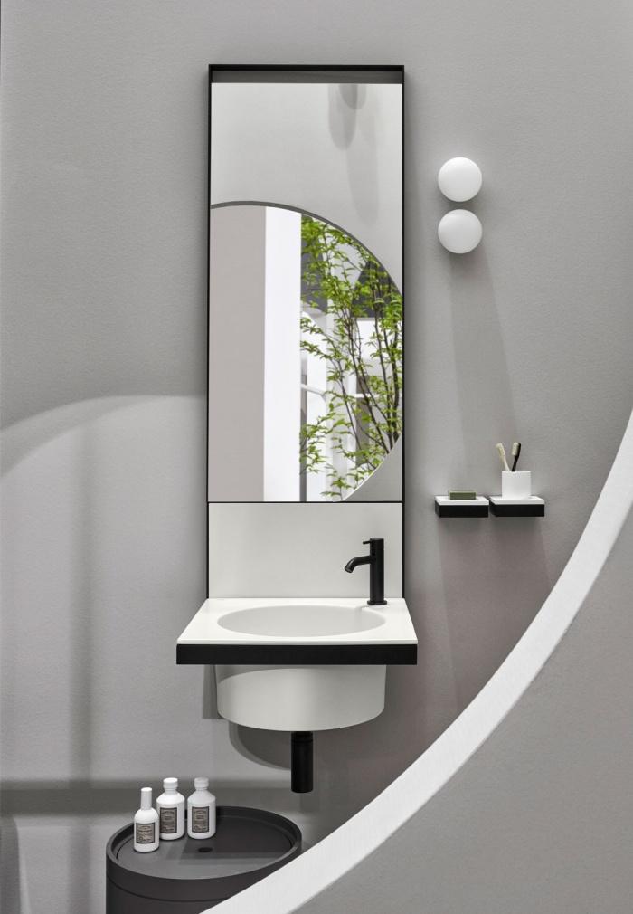 Talco washbasin and backsplash, Black Matt framework, accessories with Black Matt tray and Matt white shelves in LivingTec