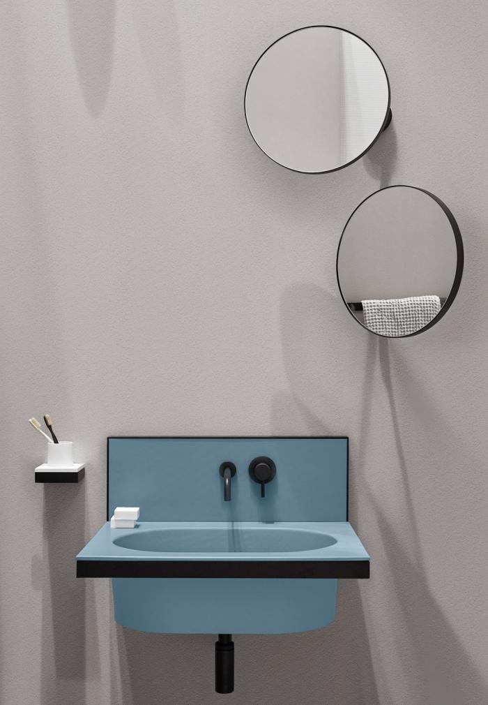 Polvere washbasin and backsplash, Black Matt framework, Pluto mirrors