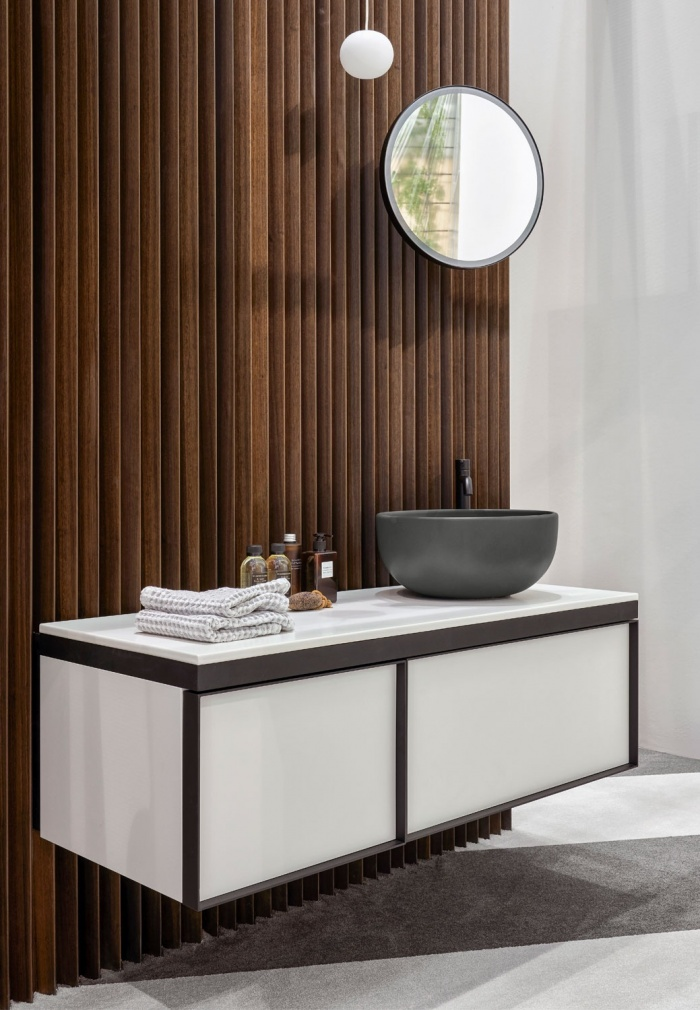 Cemento Shui on top bowl 40, Talco 120 countertop, Talco 120 closed cabinet with two drawers, Black Matt framework, Pluto mirror
