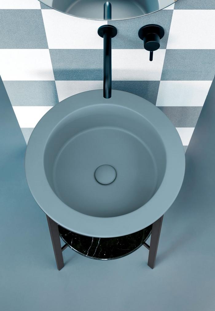 Polvere washbasin, Black Matt framework, Nero Marquina marble top