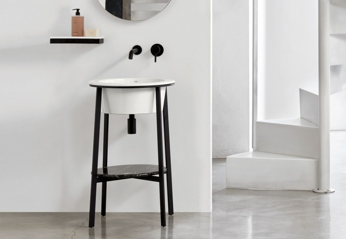 Talco washbasin, Black Matt framework, Nero Marquina marble top