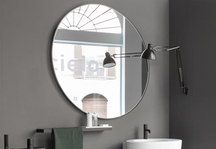 Round mirror. Bronzo Spazzolato finishes.