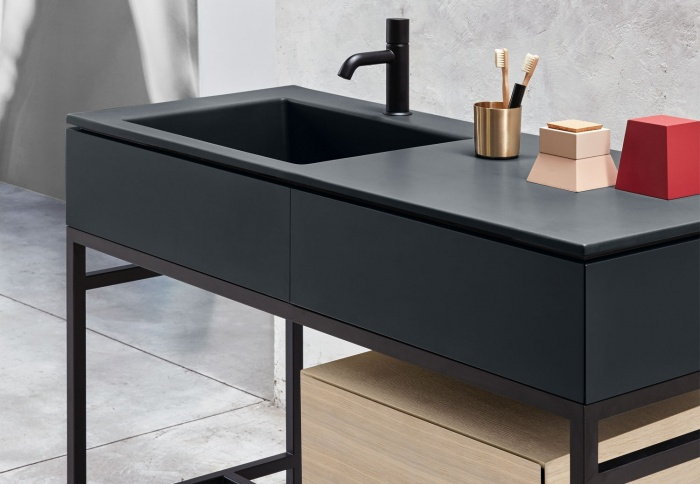Basalto washbasin and drawer, Matt Black framework, Rovere Sbiancato drawer unit