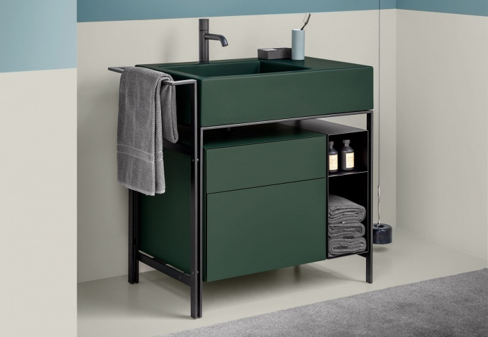 Narciso mini Muschio washbasin, Muschio lacquered drawer unit, Matt Black steel framework and box