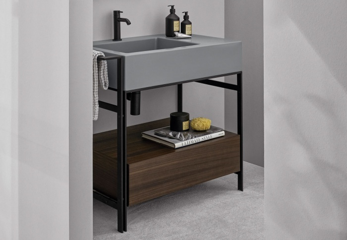 Narciso mini Brina washbasin, Eucalipto drawer Eucalipto wooden finish