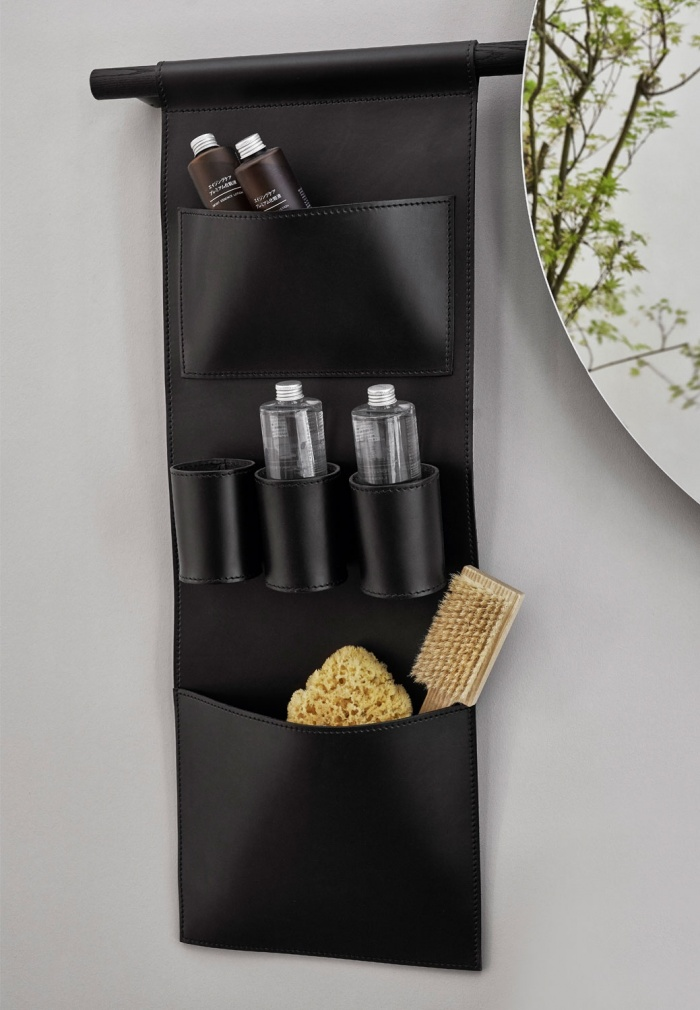 Black leather storage bag