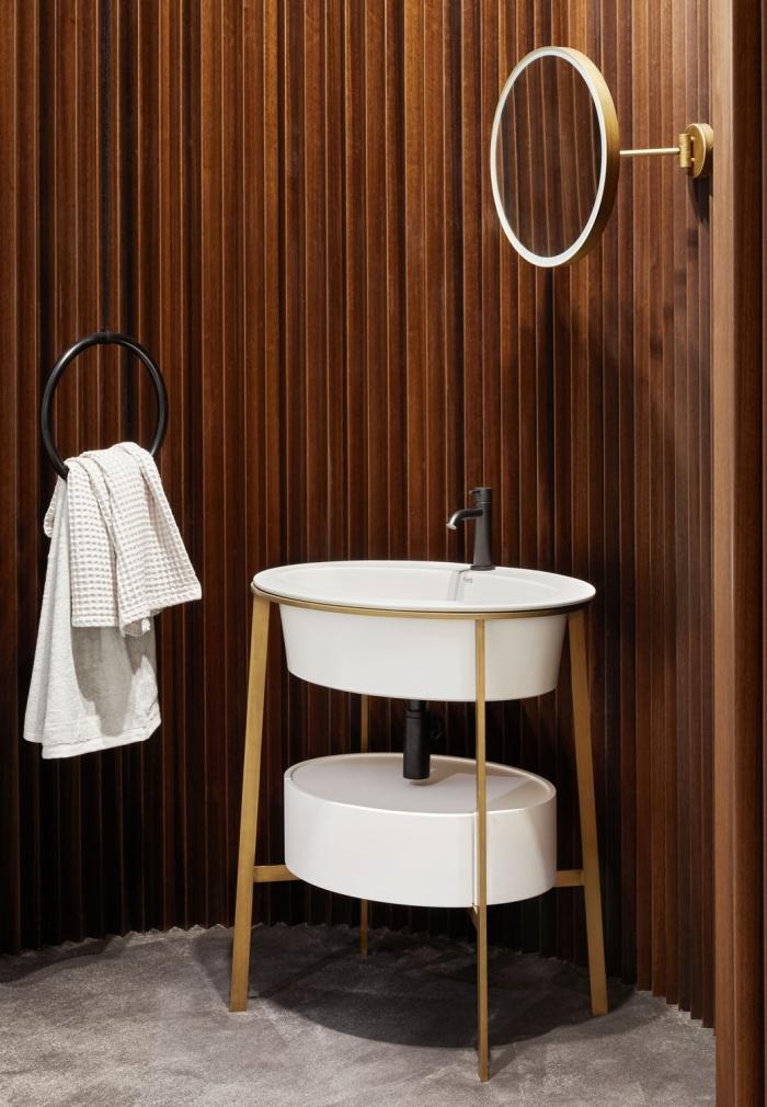 Talco washbasin and drawer, Brushed Bronze framework, Brushed Bronze Pluto mirror with LED light