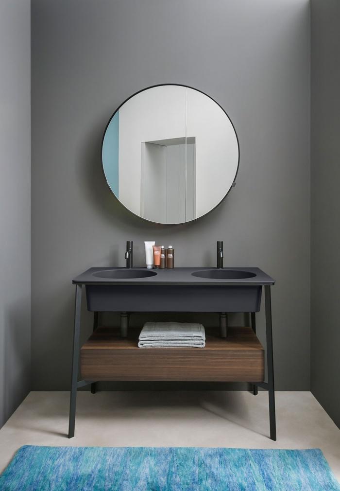 Cemento washbasin, Nero Matt framework of washbasin, Eucalipto drawer.