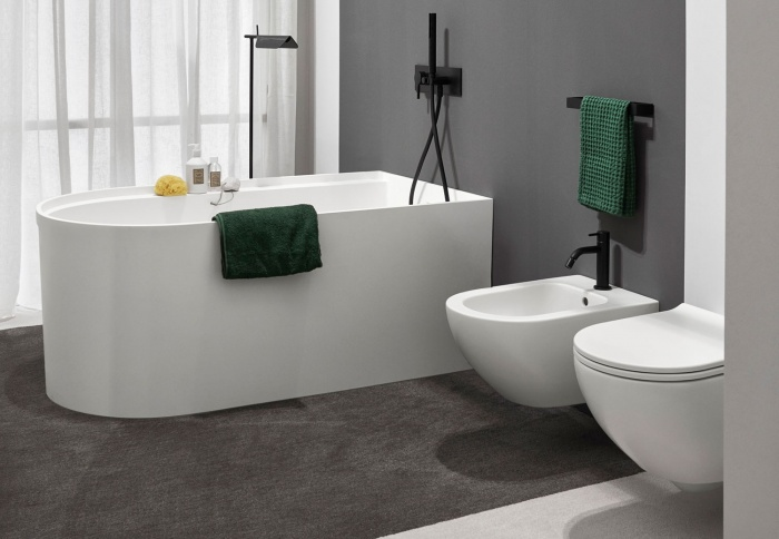 Febe bath tub Talco, in LivingTec and Enjoy Talco wall-hung wc and bidet