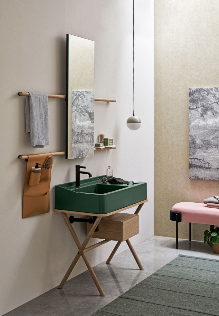 Muschio washbasin, washbasin's and mirror's framework Rovere Sbiancato, Cuoio Naturale storage bag